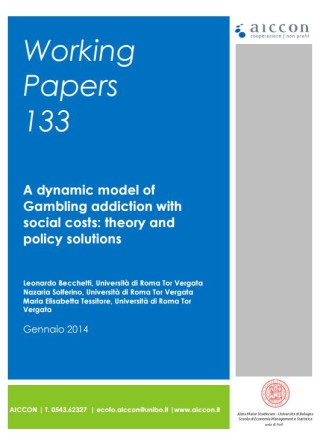 A dynamic model of Gambling addiction with social costs: theory and policy solutions