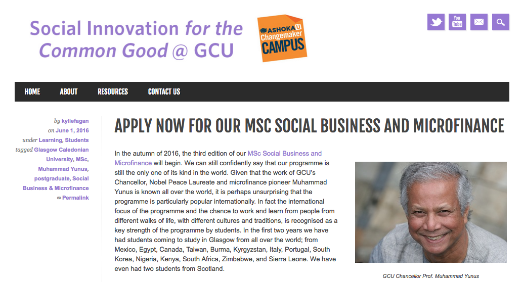 Open call for the 3rd edition of the Master on Social Business and Microfinance at GCU