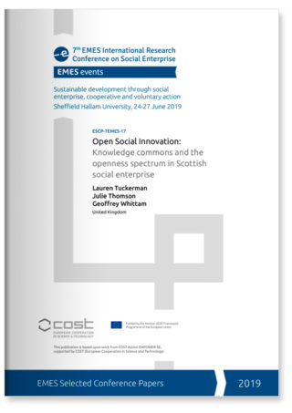 Open social innovation: Knowledge commons and the openness spectrum in Scottish social enterprise