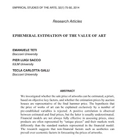 Ephemeral estimation of the value of art