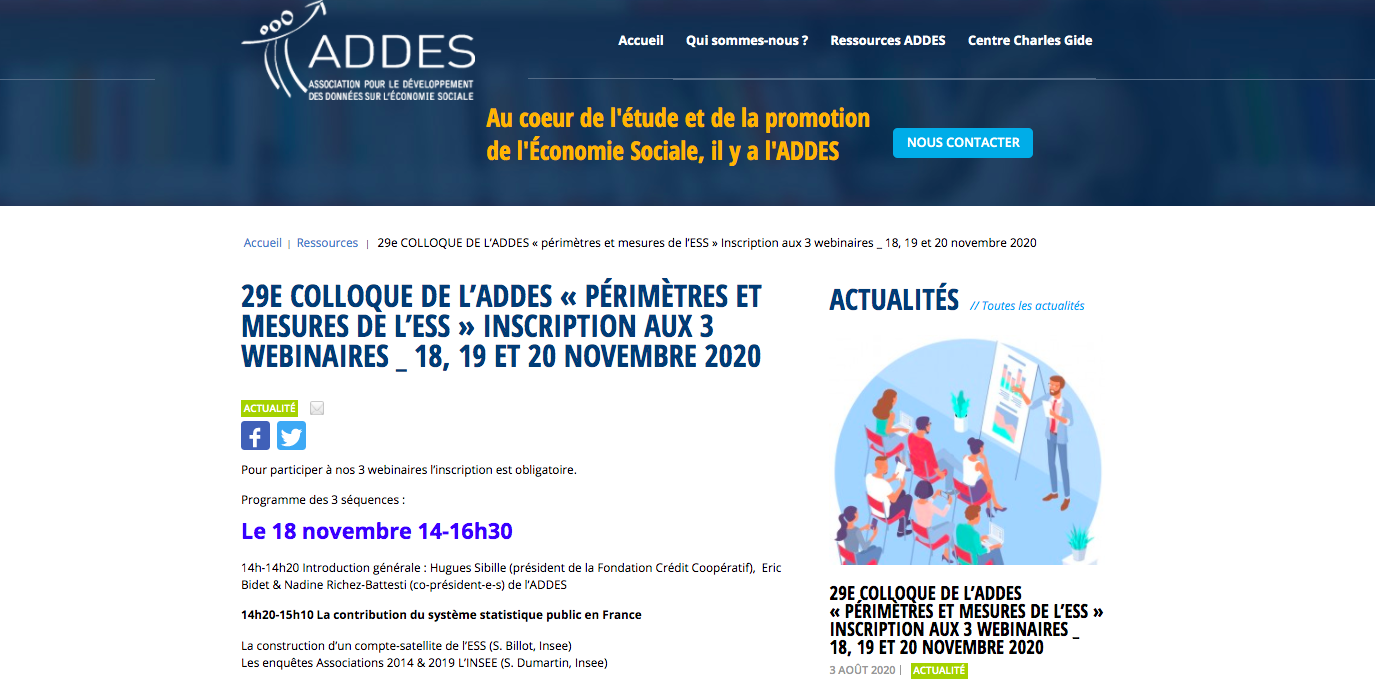 Digital congress of the French ADDES devoted to the