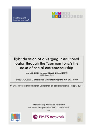 "Hybridization of diverging institutional logics through the ""common tone"": the case of social entrepreneurship"