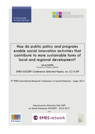 How do public policy and programs enable social innovation activities that contribute to more sustainable forms of local and regional development?